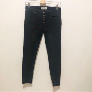 Free People Skinny Jean Button Fly Raw Hem size 28